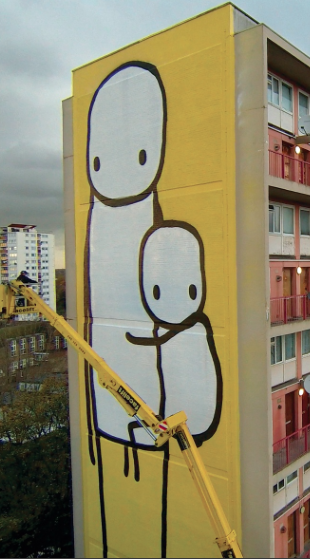 Big Mother by Stik, on the side of Charles Hocking House, a condemned tower block in Ealing, London. Photograph excerpt: Joce Division