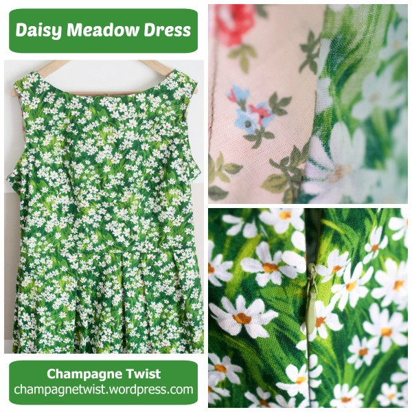 daisy meadow dress, michael miller fabric pattern simplicity 2444