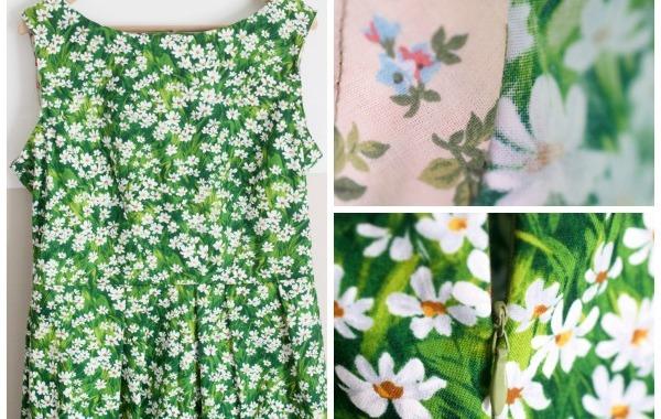 daisy meadow dress, michael miller fabric pattern simplicity 2444