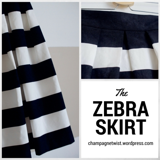 Zebra Skirt black and white wide stripe pleated skirt by Champagne Twist