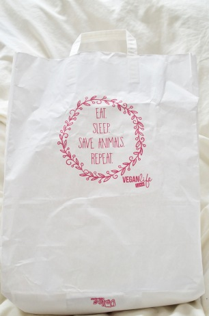 Vegan Life Live show bag cover Eat. Sleep. Save Animals. Repeat