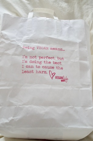 Vegan Life Live show bag cover Being vegan means... I'm not perfect, but I'm doing the best I can to cause the least harm.