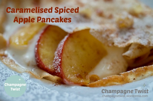 caramelised spiced apple pancakes recipe by Champagne Twist