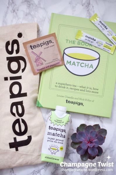 Teapigs Matcha tea product flat lay by Champagne Twist champagnetwistwordpress.com