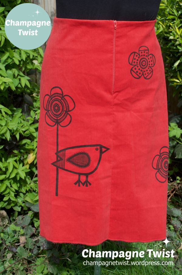 Jane Foster Big Birdie Print A-Line skirt Clothkits | Champagne Twist