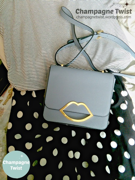 Lulu Guinness Marcie bag in mist with round things skirt