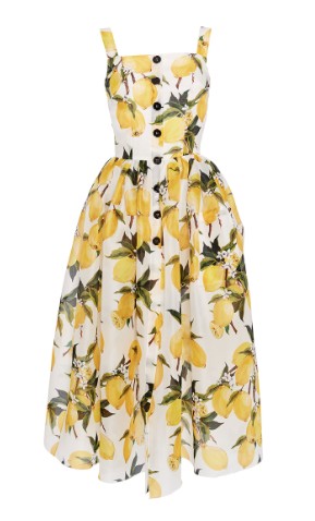 Lemon print on white background dress with fluted hem. Dolce And Gabbana.