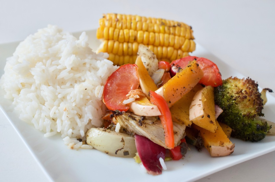 Jerk Seasoned Roasted veg with rice - Caribbean food month | ChampagneTwist.com